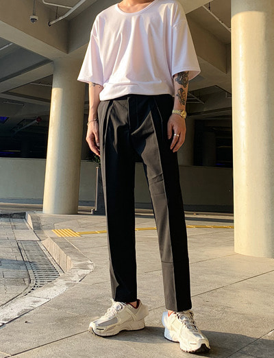 ac crop turn up slacks (2color)