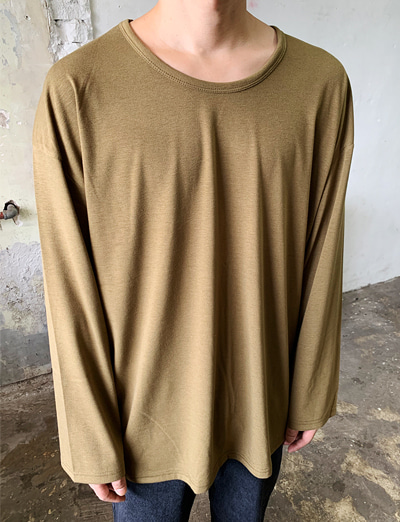 [기획/1+1] Over Fit U-neck Basic T-shirt (Khaki/3color)
