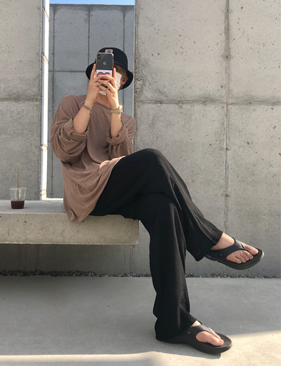 BA.Summer Loose Linen Long sleevess (Brown/4color)