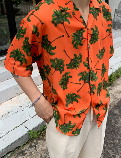 Palm Tree Hawaiian Loose Shirts (3color)